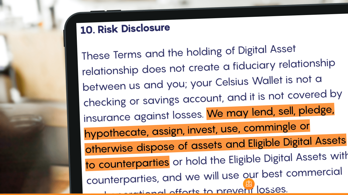 The paragraph pointing out the counterparty risk in Celsius Network's TOS